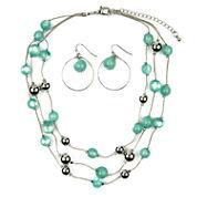 Mixit Womens  Green Beaded 3 Row Illusion Jewelry Set