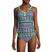 Arizona Geo Linear Tankini Swimsuit Top or Hipster Bottom-Juniors
