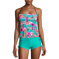 Arizona Floral Bandeau Swimsuit Top or Side Tie Short-Juniors
