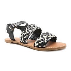 Qupid Athena Three Band Braided Flat Sandals