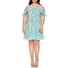 Decree Ruffle Halter Swing Dress - Juniors Plus