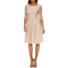 Melrose 3/4 Sleeve Lace Fit & Flare Dress-Petites