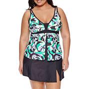 Free Country® Geometric Tankini Swimsuit Top or Swim Skirt-Plus