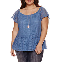 Self Esteem Lace Peplum 2Fer Top- Juniors Plus