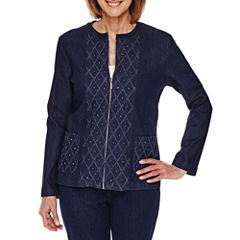 Alfred Dunner Scenic Route Long Sleeve Diamond Texture Denim Jacket-Petites
