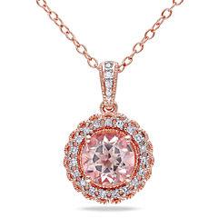 Genuine Morganite & Diamond 14K Rose Gold Over Sterling Silver Pendant Necklac