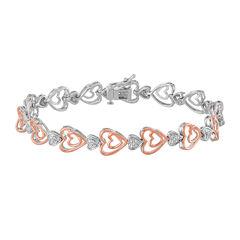 ForeverMine® 1/10 CT. T.W. Diamond 14K Rose Gold/Sterling Silver Heart Bracelet