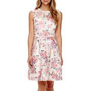 Worthington® Sleeveless Print Fit-and-Flare Dress