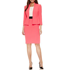 Black Label by Evan-Picone 3/4 Sleeve Open-Front Jacket with Sleeveless Colorblock Sheath Dress