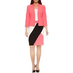 Black Label by Evan-Picone 3/4 Sleeve Open Jacket with Colorblock Pencil Skirt