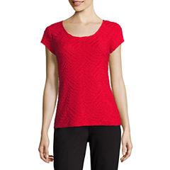 Liz Claiborne® Short-Sleeve Textured Knit T-Shirt