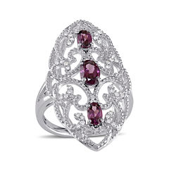 Genuine Rhodolite and 1/8 CT. T.W. Diamond Ring