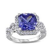 Cushion-Cut Genuine Tanzanite and Lab-Created White Sapphire Ring