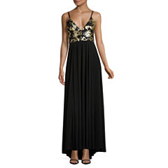 Social Code Sleeveless Sequin Evening Gown-Juniors