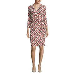 Black Label by Evan-Picone 3/4 Sleeve Geometric Wrap Dress
