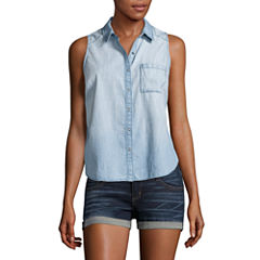 Arizona Sleeveless Button-Front Shirt-Juniors