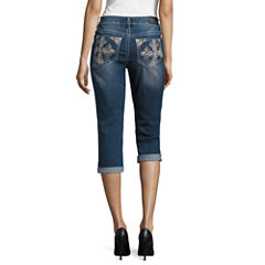 Love Indigo Cross Embellished Back Pocket Capris