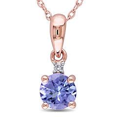 Round Genuine Tanzanite and Diamond-Accent 10K Rose Gold Pendant Necklace