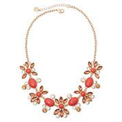 Monet® Gold-Tone Orange Stone and Crystal Necklace