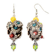Aris by Treska Multicolor Stone Flower Cluster Earrings