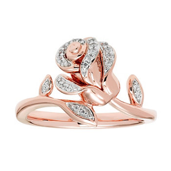 Enchanted Disney Fine Jewelry 110 Ct Tw Diamond 14k Rose Gold Over Silver Beauty And The Beast Ring