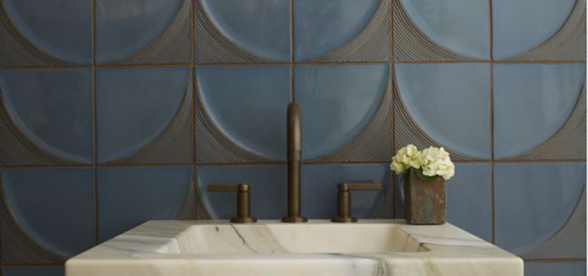 """3"""" x 9"""" criss cross field in root beer shown with KALLISTA vir stil by laura kirar basin set with lever handles, vir stil console table top in calacatta borghini marble (photographer: Blackstone Photography)"""