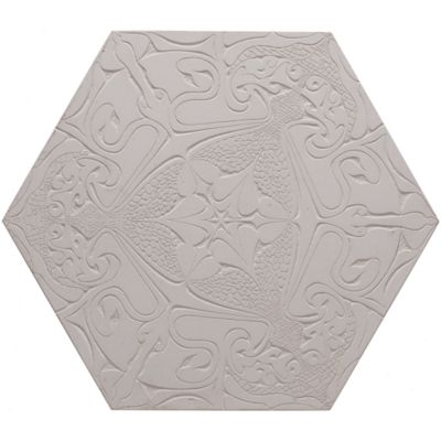 "12"" x 13-7/8"" fantastique hexagon decorative field in creme"