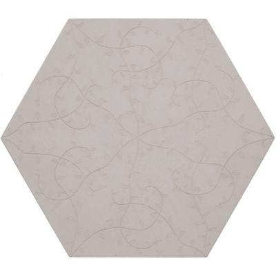 """12"""" x 13-7/8"""" tendril hexagon decorative field in crème"""
