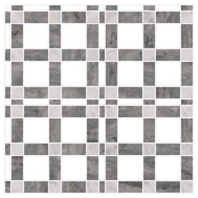 "Ann Sacks Mosaic McConnell 12"" x 12"" pattern repeat in Thassos Standard, Carrara, & Bardiglio"