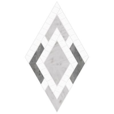 "Ann Sacks Mosaic Monaco 8.375"" x 7.125"" pattern repeat in Thassos Standard, Carrara, & Bardiglio"