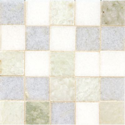 """1-1/8"""" straight mosaic with thassos standard, ming green, and blue celeste in polished finish"""