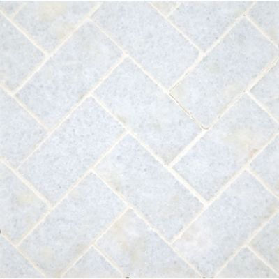 "1"" x 2-3/8"" herringbone mosaic with blue celeste in polished finish"