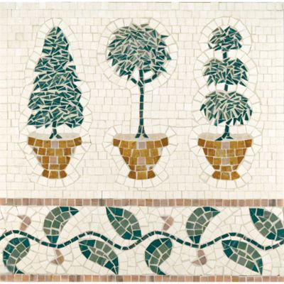 topiary mural mosaic with ivory cream, mystique, giallo reale, verde luna, moss green, and georgia peach in polished finish