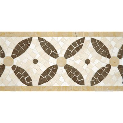 "6-3/4"" x 12"" cartman border mosaic with lagos azul in honed finish and travertine navona and jerusalem gold in polished finish"
