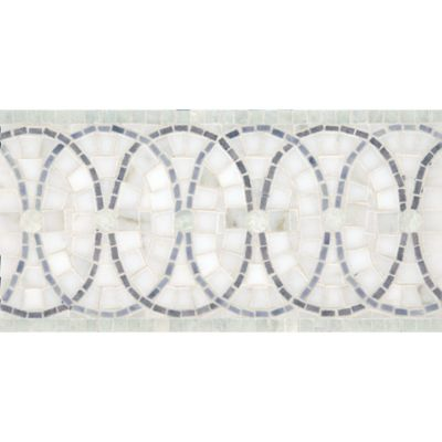 "6"" x 12"" pinwheel border mosaic with calacatta gold, ming green, bardiglio, and verde luna in polished finish"