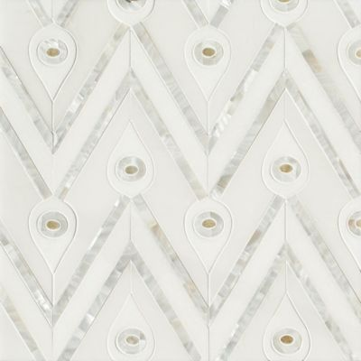 Bela mosaic in Thassos polished, Calacatta Radiance polished, Shell, and Honey Onyx Polished