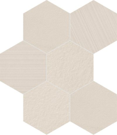 "8"" hexagon in white mix"
