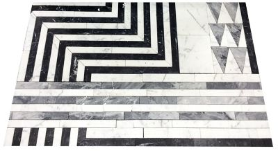 Liaison Hillcrest mosaic in custom stone blend (Grigio Carnico, Statuary, Bardiglio)