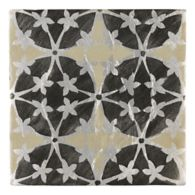 "Tiempo Bijan 4.625"" x 4.625"" field tile in Charcoal and Oxford on silver"