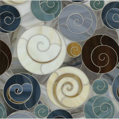 escargo-go mosaic in tortoise shell, tiger's eye, lavastone, pearl, agate, quartz, jade, and marcasite