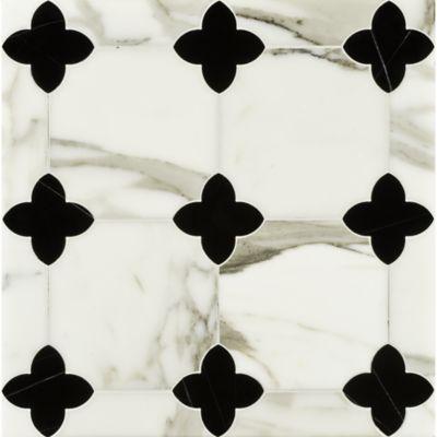 greta mosaic in negro marquina and calacatta tia