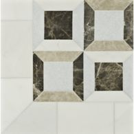 lauren mosaic in heavenly cream, celeste, travertine noce, and emperador light