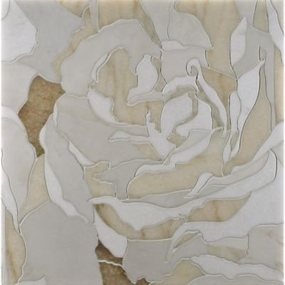 peace rose mosaic in heavenly cream, thassos, rosa portogallo, and honey onyx