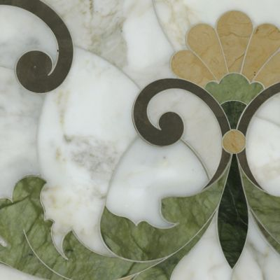 rococo loco mosaic in calacatta tia, montevideo, chartreuse, and renaissance bronze