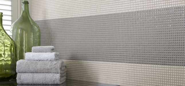 """3/8"""" stacked mosaic in putty and smoke (shown: 2013 Southern Living Idea House, photographer: Rich Maciejewski)"""