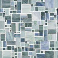 large applique mosaic in ocean breeze, light aqua and green mint