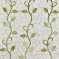 mikado mosaic in off white, mottled green light and mottled green dark