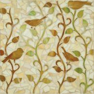 mikado with birds mosaic in dark beige and mottled green dark