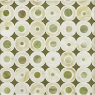 mod dot mosaic in light beige, sage green and green translucide