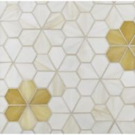segmented flower mosaic in off white and honey